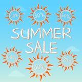用不同的百分比的夏天销售在太阳 免版税库存图片