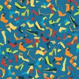 用不同的美丽的鞋子的无缝的样式在蓝色背景 导航与凉鞋、鞋子和脚跟的例证 Tileable de 免版税库存照片