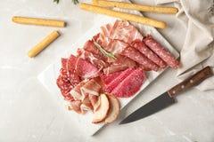 用不同的肉纤巧的平的被放置的构成 库存照片