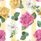 用不同的花卉植物2的无缝的样式 免版税库存图片