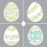 用不同的花卉装饰的复活节彩蛋 免版税库存照片