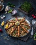 用不同的草本和鱼的米肉饭 波斯烹调 库存图片