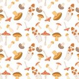 用不同的蘑菇的五颜六色的无缝的样式背景 库存图片