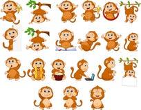 用不同的行动的动画片愉快的猴子收藏 库存例证