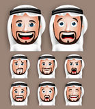 用不同的表情的现实沙特阿拉伯人头 免版税图库摄影