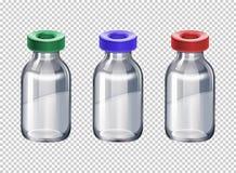 用不同的颜色盖帽的三个瓶 向量例证