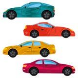 用不同的颜色绘的一套四辆汽车 库存照片