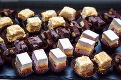 用不同的食物快餐,与甜点的分类的开胃菜的美妙地装饰的承办的宴会桌在公司christm的 库存图片