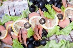 用不同的鱼Delicata的板材 库存图片