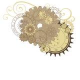 用不同的齿轮、拨号盘和漩涡的拼贴画。 免版税库存照片