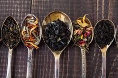用不同的添加剂的茶 免版税库存照片