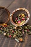 用不同的添加剂的风味茶 图库摄影