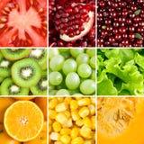 用不同的水果、莓果和蔬菜的汇集 免版税库存图片