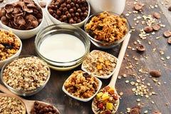 用不同的类的构成早餐谷物产品 库存照片