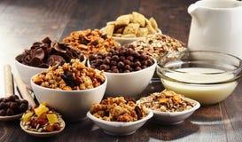 用不同的类的构成早餐谷物产品 免版税库存照片