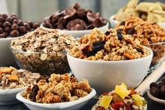 用不同的类的构成早餐谷物产品 免版税图库摄影