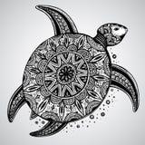 用东方装饰的手拉的单色乱画乌龟 免版税库存照片