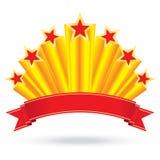 用丝带上升标记周年豪华光亮的金星  皇族释放例证