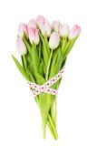 用丝带装饰的桃红色郁金香花束被隔绝在白色 背景蓝色框概念概念性日礼品重点查出珠宝信函生活纤管红色仍然被塑造的华伦泰 免版税库存图片