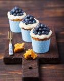 用乳脂干酪结霜和新鲜的蓝莓装饰的南瓜杯形蛋糕在木背景 免版税库存照片
