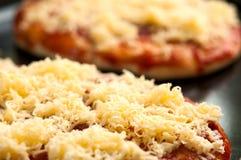 用乳酪或小药丸盖的微型薄饼 库存照片