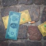 用于一个一刹那暴民的假美元细节在米兰,意大利 免版税库存照片