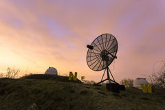 用于一个天文学观测所的卫星盘 库存图片