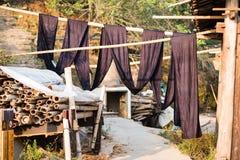用于传统苗族少数服装的织品 免版税库存图片