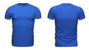 用于您的设计的空白的蓝色T恤杉模板隔绝在与裁减路线的白色背景 免版税库存照片
