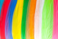 用于装饰的多彩多姿的布料在泰国寺庙 库存图片