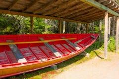 用于采伐的产业的一条老木小船 库存图片