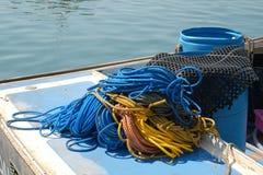 用于龙虾渔和设备的绳索 免版税库存照片