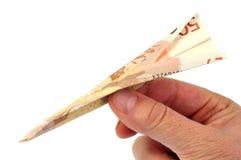 用五十欧元钞票做的纸飞机 免版税图库摄影