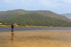用假蝇钓鱼自然谷 库存图片