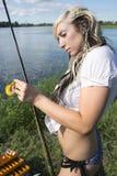 用假蝇钓鱼 库存图片