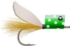 用假蝇钓鱼popper诱剂 库存照片