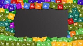 用元素的周期表的标志做的五颜六色的框架 库存例证