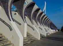 用全国西班牙马赛克对L ` Umbracle的装饰的入口建筑细节,巴伦西亚10月2016年,西班牙 免版税库存图片