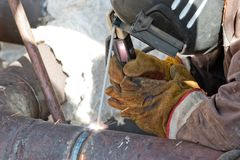 用具的零件修理手工电弧焊接的 库存照片