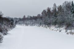 用冰和雪盖的河从树木丛生的岸和多云天空 免版税图库摄影
