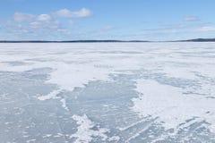 用冰盖的湖的表面 免版税图库摄影