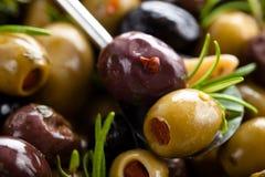 用卤汁泡的橄榄背景 免版税库存照片