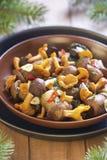 用卤汁泡的蘑菇用香料 免版税库存图片
