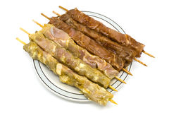 用卤汁泡的鸡自创kebabs 库存图片