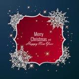 用发光的雪花装饰的圣诞卡 新年快乐贺卡,传染媒介例证 图库摄影