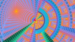 用各种各样的装饰几何形状装饰的分数维机械轮子,全部在明亮生动桃红色,红色, puprle,绿色,蓝色 库存照片