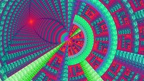 用各种各样的装饰几何形状装饰的分数维机械轮子,全部在明亮生动蓝色,桃红色,红色,绿色 免版税库存图片