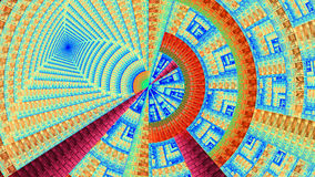 用各种各样的装饰几何形状装饰的分数维机械轮子,全部在明亮生动蓝色,黄色,红色 免版税库存图片