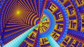 用各种各样的装饰几何形状装饰的分数维机械轮子,全部在明亮生动紫色,红色,蓝色,黄色 图库摄影