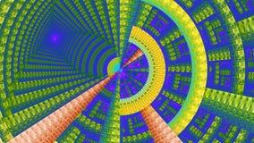 用各种各样的装饰几何形状装饰的分数维机械轮子,全部以明亮的鲜绿色,紫色,黄色,红色 免版税库存照片